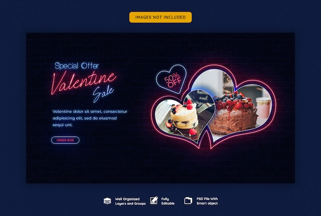 Valentijnsdag verkoop websjabloon voor spandoek