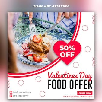 Valentijnsdag voedselaanbieding banner post