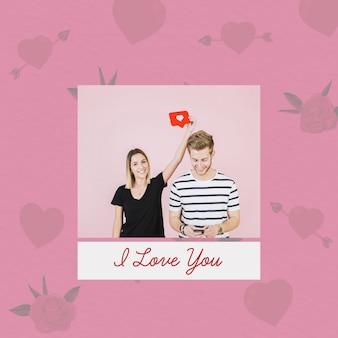 Valentijnsdagmodel met afbeelding