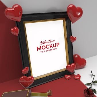 Valentine 3d romantisch foto zwart gouden frame met chocoladebloem en hart ornament mockup