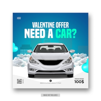 Valentine autoverhuur promotionele social media flyer of instagram postsjabloon