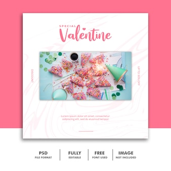 Valentine banner social media post instagram food pink