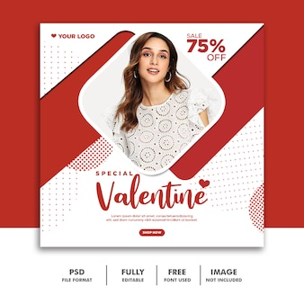Valentine banner social media publicar instagram