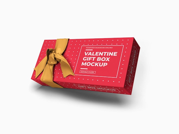 Valentine gift box mockup design geïsoleerd