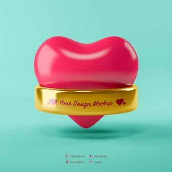 Valentine-hart dat door een geïsoleerde ring wordt omringd