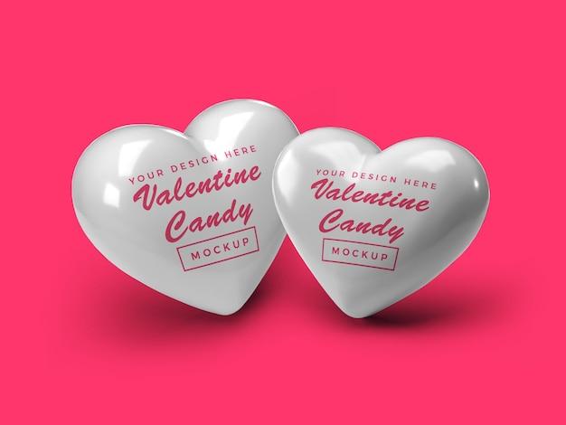 Valentine heart candy mockup design
