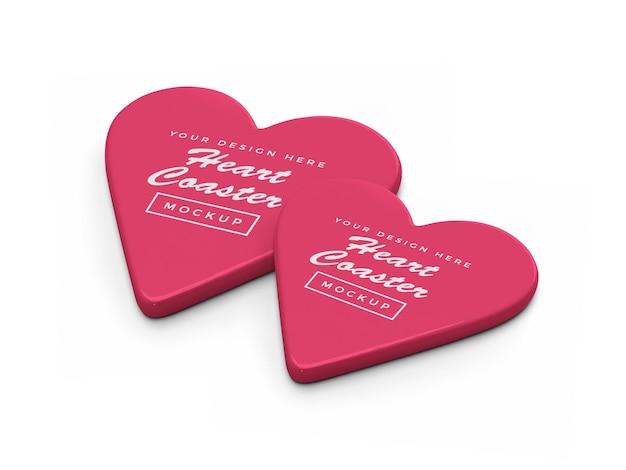 Valentine heart coaster mockup design