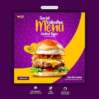 Valentine heerlijke hamburger en voedsel menusjabloon voor sociale media-spandoek
