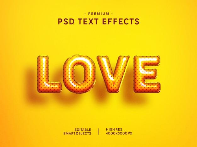 Valentine love balloon-tekststijleffect op geel