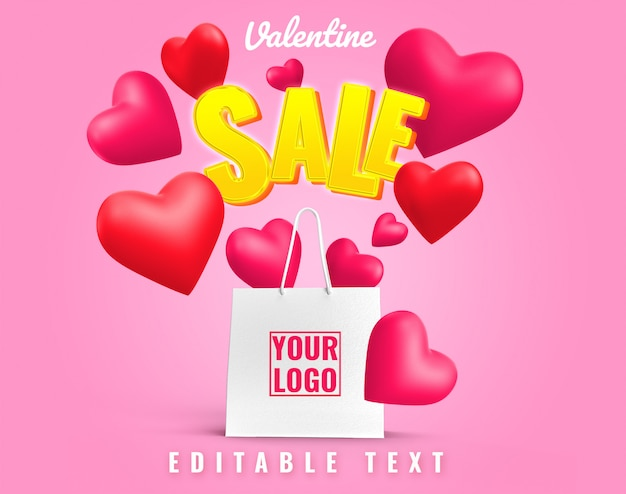 Valentine love verkoop kunstwerk boodschappentas mockup