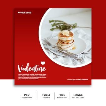 Valentine rosso della posta di media sociali di instagram del pancake