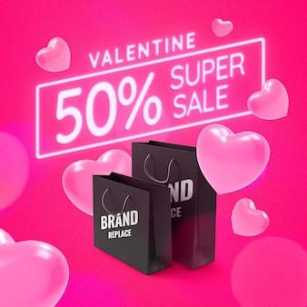 Valentine shopping promotie banner mockup
