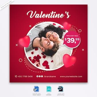 Valentine sociale media plaatsen sjabloon voor spandoek