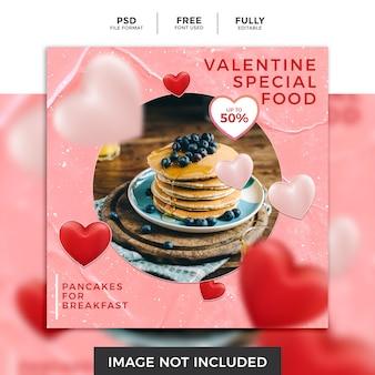Valentine sood moderne instagram posts sjabloon voor ontbijtrestaurant