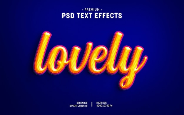 Valentine text effect adorabile arancio su porpora scuro
