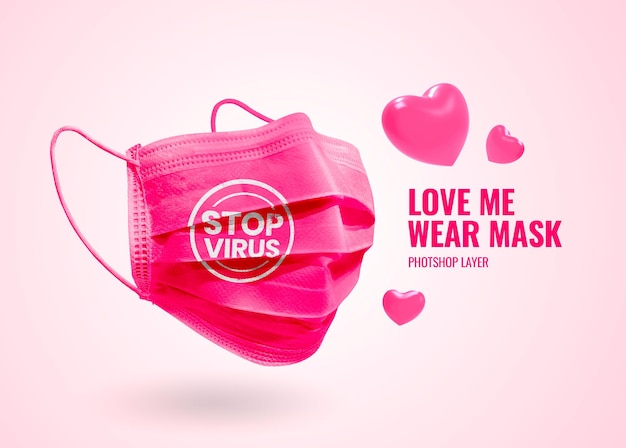 Valentine-veilige eerste masker-mockup-reclame