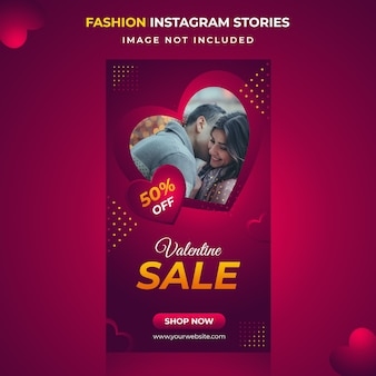 Valentine verkoop instagram verhalen sjabloon