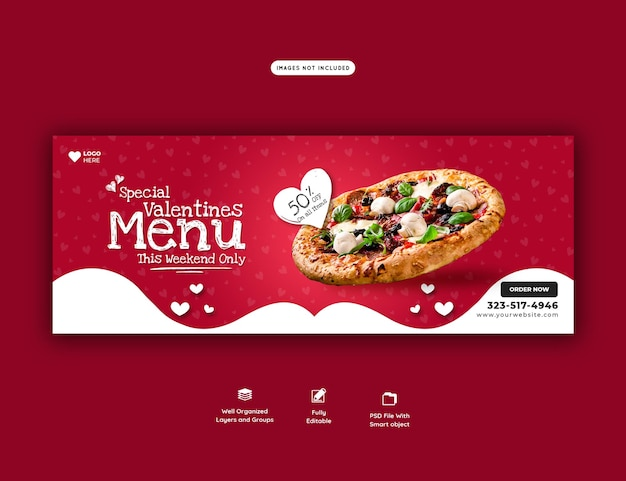 Valentine-voedselmenu en heerlijke pizza facebook omslagsjabloon voor spandoek