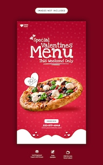 Valentine-voedselmenu en heerlijke pizza instagram- en facebook-verhaalsjabloon