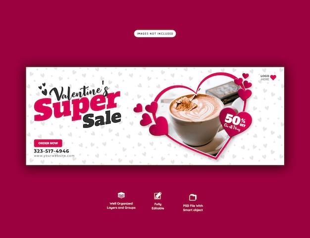 Valentine-voedselmenu en restaurant facebook omslagsjabloon