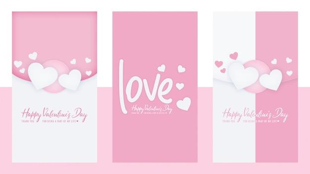 Valentines day instagram stories set template