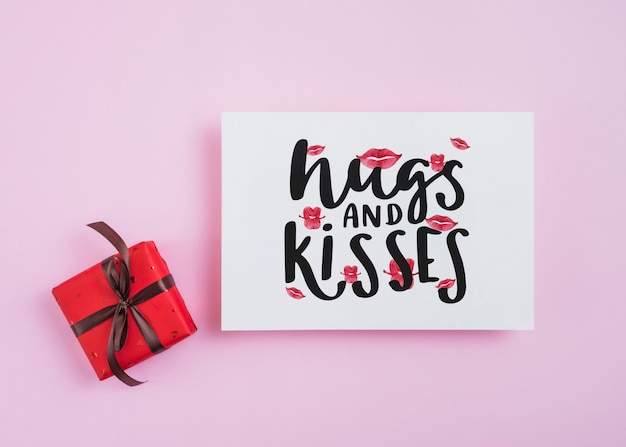 Valentines kaartmodel met cadeautjes