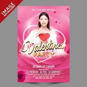 Valentines party flyer premium psd-sjabloon