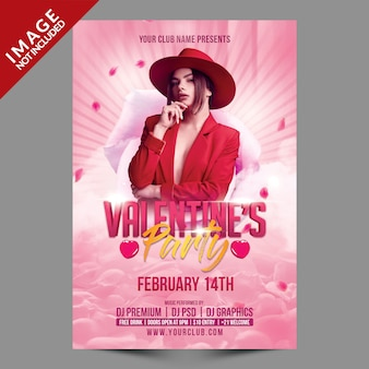 Valentines party poster psd-sjabloon