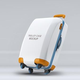 Valigia trolley con ruote universali inclinate a destra o mockup verticale per bagagli isolato