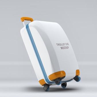 Valigia trolley con ruote universali inclinate a sinistra o mockup verticale per bagagli isolato