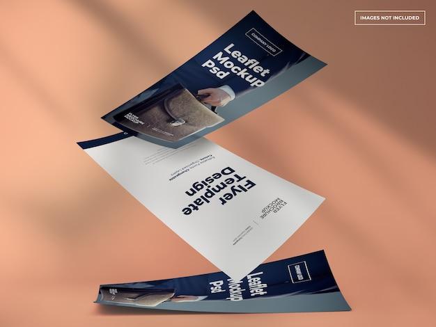 Vallende folder- en flyer-conceptmodellen