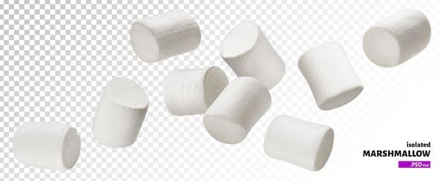 Vallende marshmallows geïsoleerd