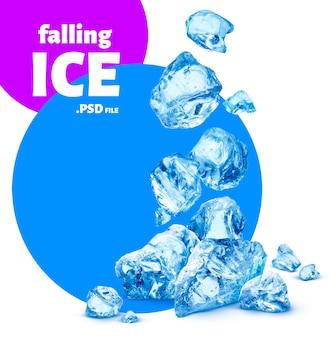 Vallende stukjes ijs, crushed ijs