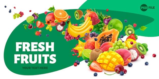 Vallende vruchten en bessen geïsoleerd