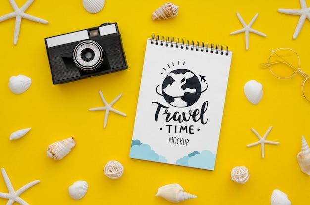 Vamos maqueta de viaje y cámara vintage