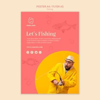 Vamos a pescar afiche plantilla de póster