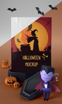 Vampierkarakter naast halloween-kaart