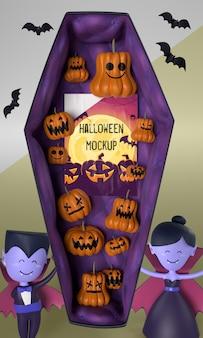 Vampierkarakters naast halloween-kaart