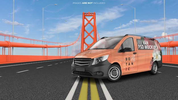 Van vehicle on the golden bridge exterior psd mockup