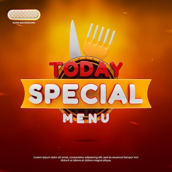 Vandaag speciale menubanner 3d render
