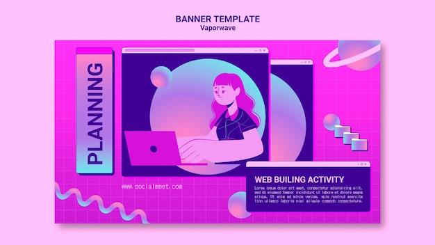 Vaporwave-bannermalplaatje geïllustreerd