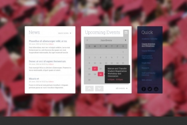 Varia caja de contenido con el calendario y noticias