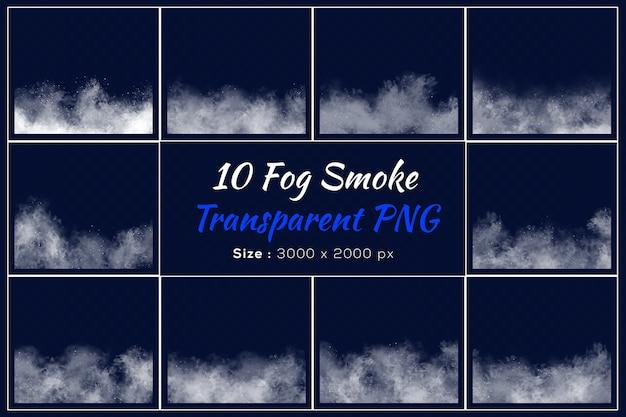 Varias formas de colección transparente de humo de niebla.