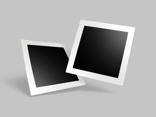 Varias maquetas de fotos de marco de papel cuadrado