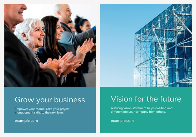 Varias plantillas de carteles de negocios psd con conjunto de fotografía de personas