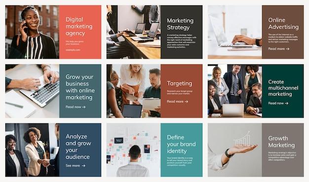 Varias plantillas de marketing digital psd conjunto de presentaciones de negocios