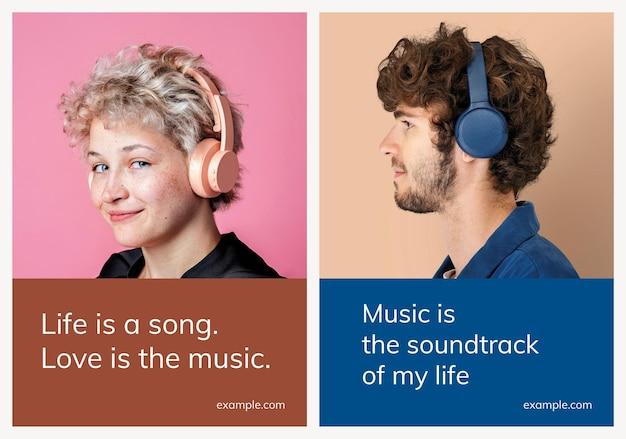 Varias plantillas de publicidad de música psd para conjunto de carteles