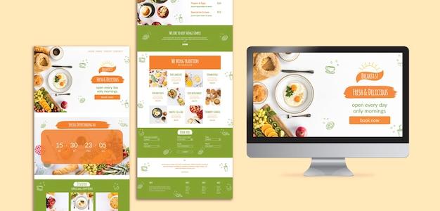 Varias plantillas para restaurantes de desayuno y pantalla.