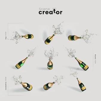 Variedad de champán ángulos creador de escena navideña