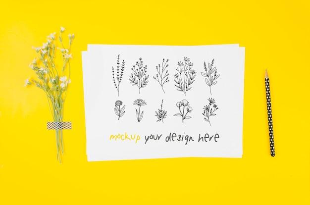 Varios dibujos florales de tinta maqueta botánica.